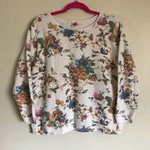 Floral Multi Color Vintage White Sweater